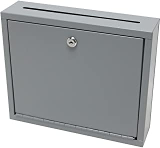 FixtureDisplays Multipurpose,Wall Mountable,Medium Size,Suggestion Box,Donation Box,Drop Box,Mailbox,Cash Box 15212-grey