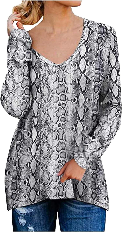 FUNEY Women's Causal V-Neck Plaid Leopard Print Pullover Tee Long Sleeves Split Side Zipper Sweatshirts Tops Blouse