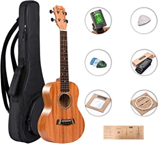 Tenor Ukulele Caramel 26 inch Professional All Solid Mahogany ukulele Instrument Kit Small Hawaiian Guitar ukalalee Pack Bundle Gig bag, Digital Tuner, Strap, Strings Set