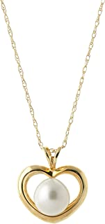 """Galaxy Gold 14k14"""" Yellow Gold Open Heart Genuine Pearl Pendant Necklace"""