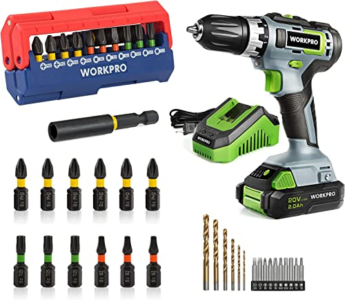 wholesale WORKPRO 20V Cordless online Drill/Driver Kit & Impact Driver wholesale Bit Set 13-piece online