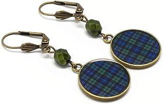 Orecchini scozzese blu verde nero orologio tartan Outlander resina personalizzata regali di Natale amici mamma compleanno ...