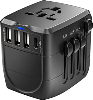Travel Adapter, 2400W International Power Adapter, Universal 1 Smart Type-C & 3 USB All in One Power Plug Adapter for High Power Appliances for UK, EU, AU, US, Over 200 Countries, Black