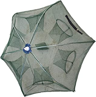 WINOMO Portable Folded Fishing Net Fish Shrimp Minnow Crayfish Crab Baits Cast Mesh Trap Umbrella Design 37.37 inch (Six Entrance)