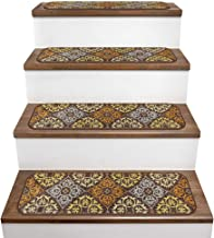 House, Home and More Set of 15 Skid-Resistant Carpet Stair Treads – Kaleidoscope Bloom – Autumn Brown – 9 Inches X 36 Inches