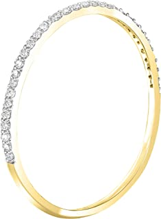 Buy Jewels 14k Gold Dainty Half Band Natural Diamond Wedding Anniversary Ring (0.08 cttw, G-H Color)