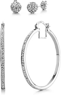 40mm Hoop Earrings for Women made With Swarovski Crystals (Various Colors)