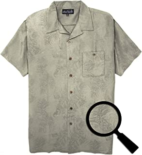 Falcon Bay Big & Tall Men's Textured Tropical Hawaiian Shirt (6XL, Olive)
