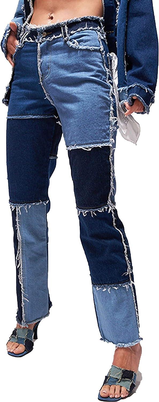 FEOYA Patch Flare Jeans for 激安卸販売新品 Women Trendy 市販 High Pockets Deni Waist