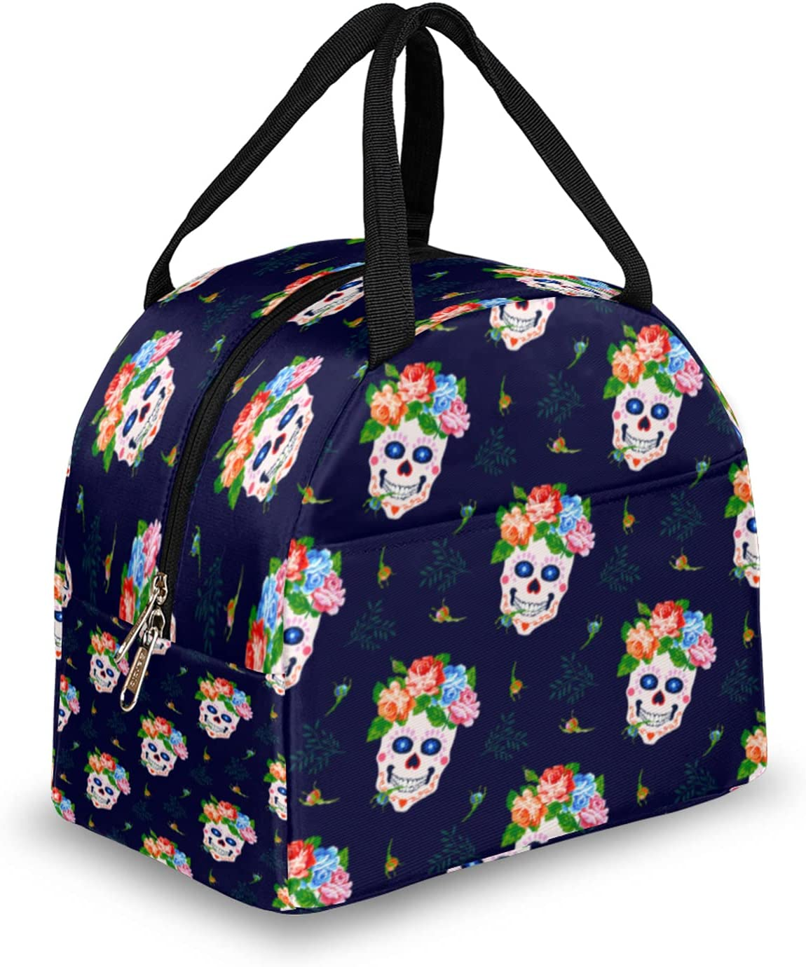 Skull Lunch Bag Free Shipping New Wreath 25% OFF Flower Box Re Women for Insulated