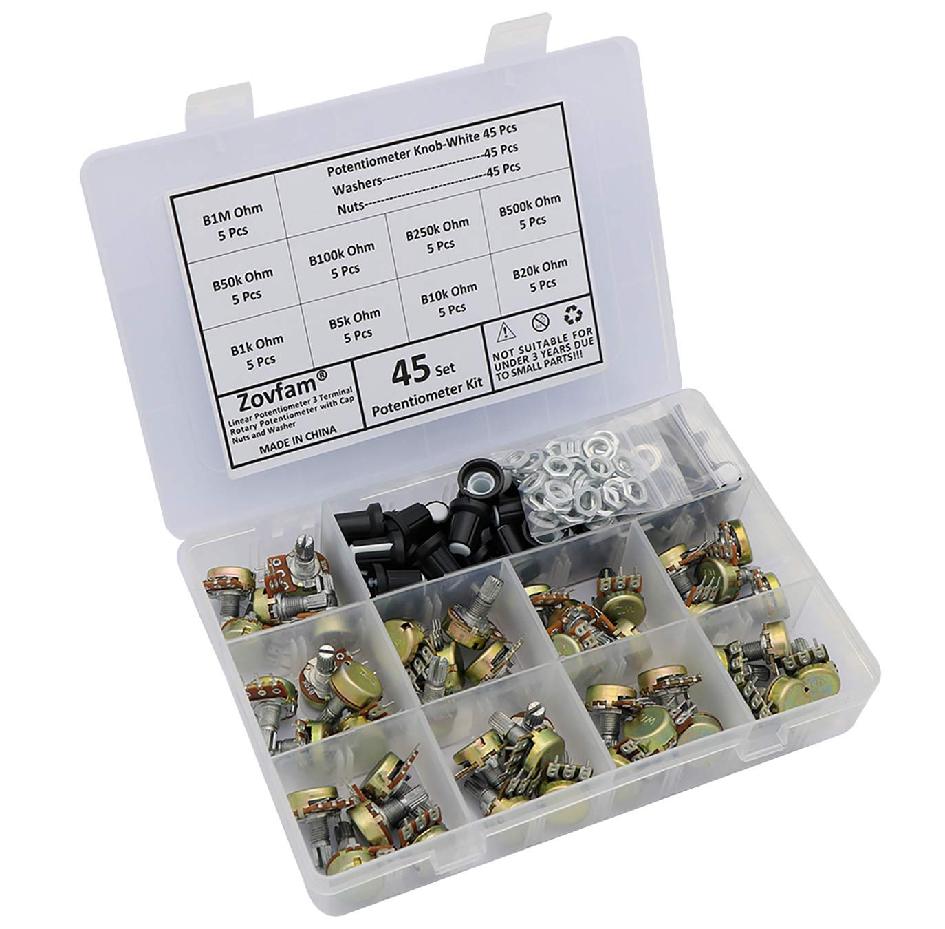 Potentiometer Kit Clearance SALE Limited time 9 Values Linear Large special price !! 3 Rota Terminal