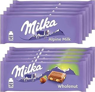 Milka European Chocolate Bars Variety Pack, Alpine Milk Chocolate & Wholenut Hazelnut Chocolate, Easter Chocolate, 10 - 3....