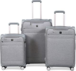 Unitravel 3 Pcs Expandable Rolling Luggage Set Softside Spinner Business Suitcase Lightweight Trunk Case with TSA Lock Gray 20 24 28 inch