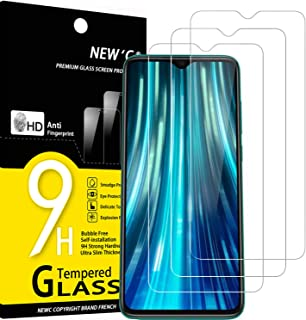 NEW'C 3-pack skärmskydd med Xiaomi Redmi Note 8 Pro, Xiaomi Redmi 9 – Härdat glas HD klar 9H hårdhet bubbelfritt