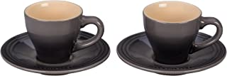 Le Creuset of America PG8001-097F Le Creuset Stoneware Set of 2 Espresso Cups and Saucers-Oyster, 2 oz