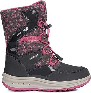 حذاء برقبة طويلة للفتيات ماركة Geox Roby Warm مبطن بالدانتيل، رمادي/فوشيا