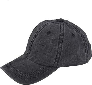 LIOOBO 女性用男性用デニム野球帽ブラック野球帽レトロブランク野球帽ピークキャップ男性(ブラック)