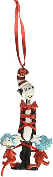 Department 56 Dr Seuss Cat In The Hat Bow Tied Cat With Things Hanging Ornament