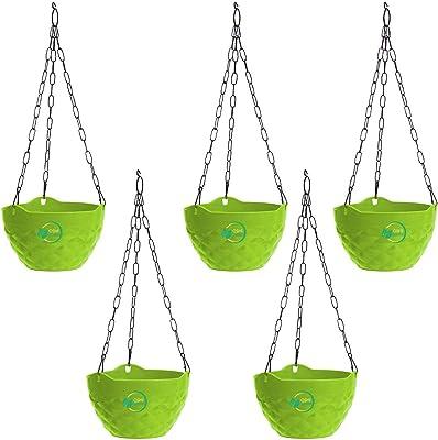 Oshi Greens Diamond Hanging Flower Pot Green Pack of 5