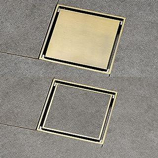 浴室のバスルームのための正方形の見えない床の排水のない銅の自己密封漏れの脱臭のシャワーの排水詞のタイル-ブロンズ