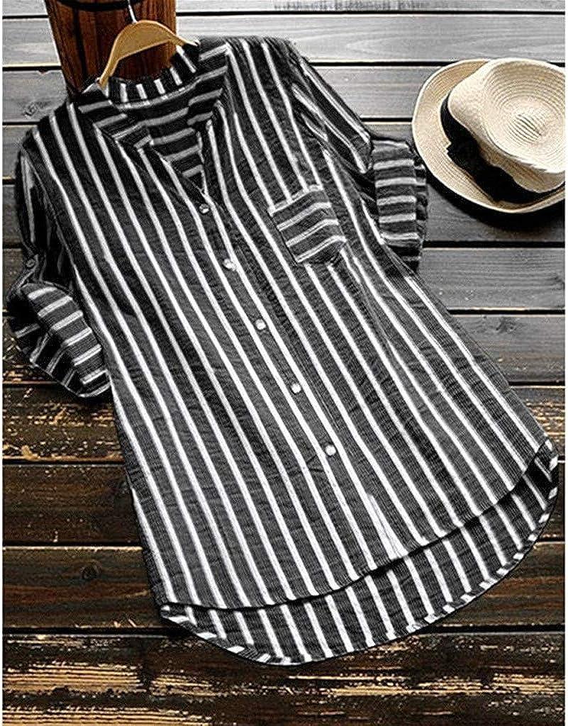 COPPEN Women Blouse Loose Button Long Shirt Dress Cotton Summer Tops T-Shirt