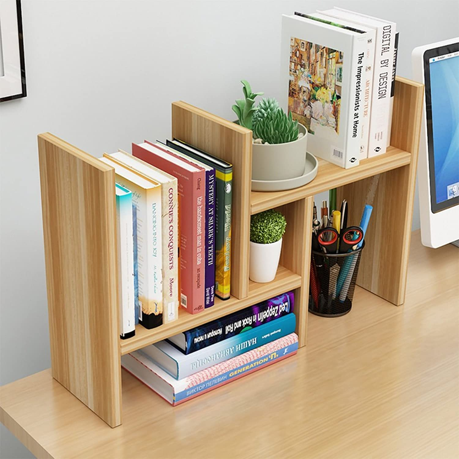 Shelves ZHANGRONG Solid Wood Desktop Bookshelf Bookcase Combination Desk Desktop Storage Rack  Wall decoration (color   A)