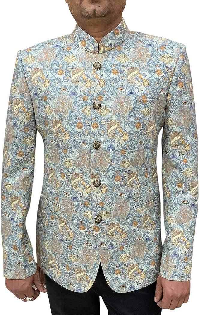 INMONARCH Hawaaian Paisley Printed Mens Jodhpuri Mandarin Handmade Suit JO600