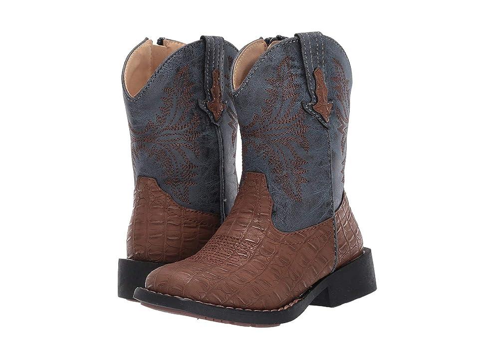 Roper Kids Adelia (Toddler) (Brown Faux Caiman Vamp/Blue Shaft) Cowboy Boots