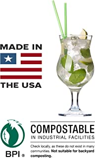 Compostable Biodegradable Straws, Paper Wrapped: 500ct: Made in USA: (Green, Jumbo, 7.75