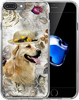 8 Plus Case Dog/IWONE Designer Non Slip Rubber Durable Protective Replacement Skin Transparent Cover Shockproof Compatible with iPhone 7/8 Plus + Golden Retriever Lovely in Hat