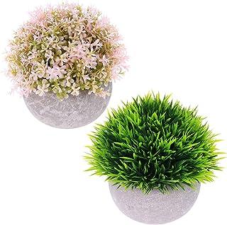 DeELF Outlet ピンクと緑2つセット かわいい人工観葉植物 ミニサイズの装飾鉢植え オフィス、室内、センターピースなどの飾り付けに 緑と淡いピンク