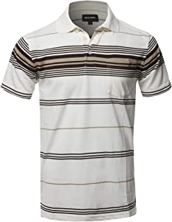 Style by William Men's Casual Striped Short Sleeves Three-Button Polo T-Shirt