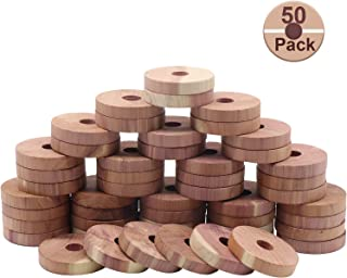 YiSeyruo Cedar Blocks for Clothes Storage - 100% Natural Red Cedar Balls Cedarwooden for Closet Hangers and Drawers Set of 50 Cedar Rings