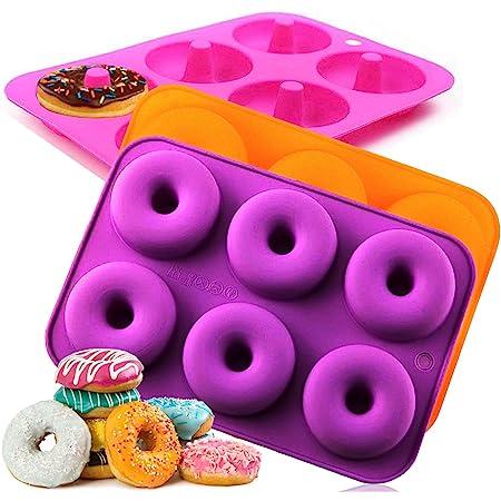 Moules à Donuts en Silicone, Moule pour Beignets Antiadhésif, Lave Vaisselle, Four, Four Micro Ondes, Coffre-fort pour Congélateur, BPA_free, Bake Full Shaped Donuts