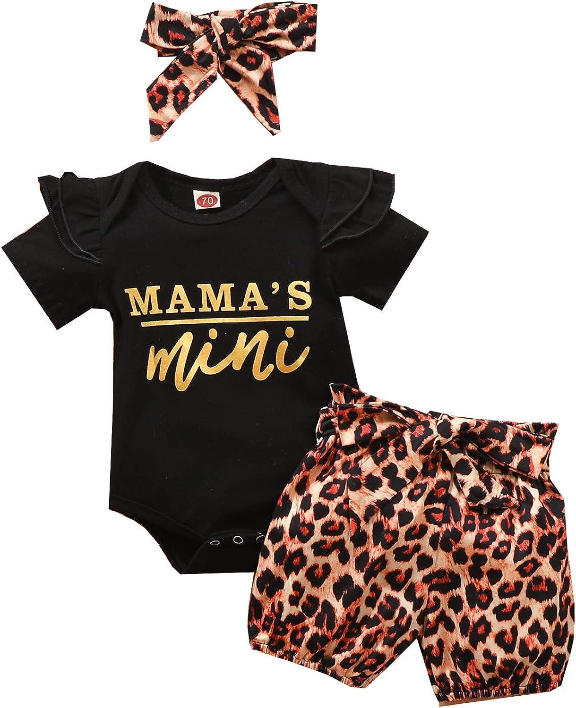 Newborn Baby Girl Boy Clothes Fly Sleeve Daddays Mini Print T-Shirt Top+Leopard Pants Short Set Kid Outfit 3Pcs