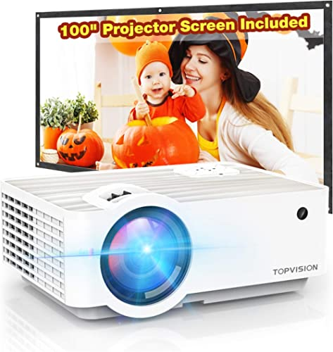 """Video Projector, TOPVISION 5500L Portable Mini Projector with 100"""" Projector Screen, 1080P Supported, Built in HI-FI ..."""