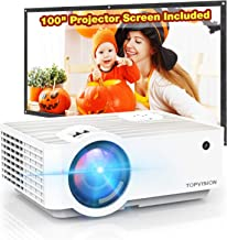 """Video Projector, TOPVISION 5500L Portable Mini Projector with 100"""" Projector Screen, 1080P Supported, Built in HI-FI Speak..."""