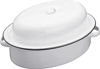 Kitchencraft Living Nostalgia Enamel Self-basting Roaster With Lid, White/grey,