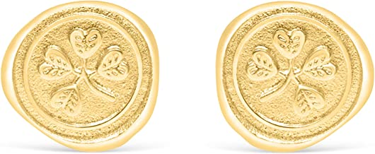 ONDAISY 14k Matte Gold Plated Dainty Delicate Boho Cute Cool Unique Gypsy Vintage Round Circle Coin Ears Studs Post Earrings For Women Teen Girls Children Men Jewelry