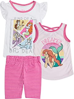 Disney Princess Toddler Girls Tee Shirt Tank Top and Shorts 3 Piece Outfit Set