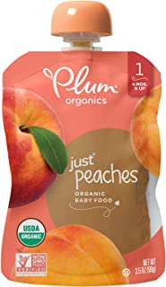 Plum Organics Stage 1, Organic Baby Food, Just Peaches, 3.5 ounce pouches (Pack of 12) (Packaging May Vary)