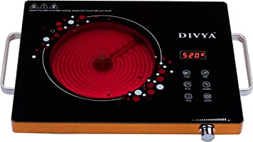 DIVYA DP-55 Infrared Cooktop Manual Aluminium Electric Stove is 2000 -Watts with Grill with 1 Burner, Black