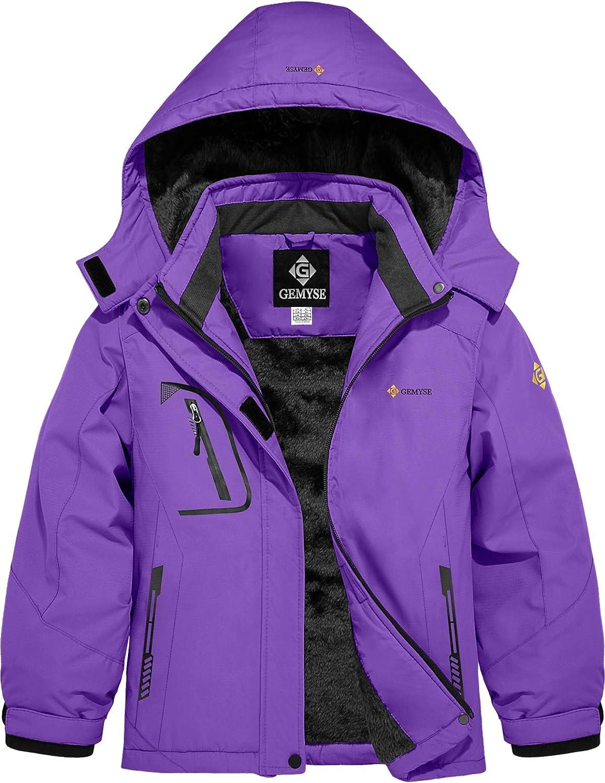GEMYSE Veste de Ski Imperm/éable de Montagne pour Fille Manteau dhiver Ext/érieur en Polaire Coupe-Vent avec Capuche