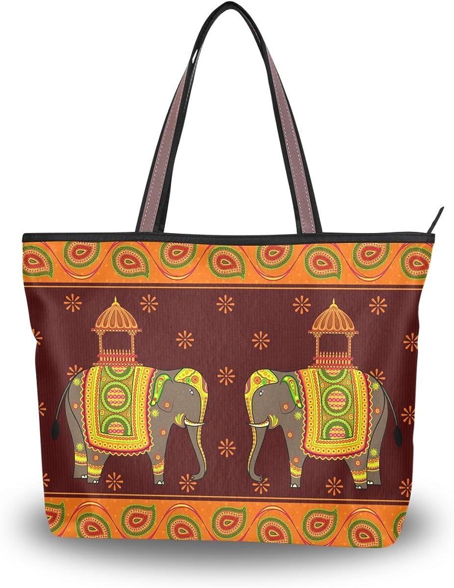 JSTEL Women Large Tote Top Handle Shoulder Bags Elephant Paisley Patern Ladies Handbag L