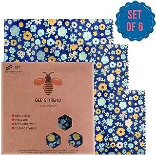 Bee's Trend 6er-Set Bienenwachs-Wraps, für natürliche Lebensmittelaufbewahrung, keine Abfälle, Käse- und Sandwich-Verpackungen, waschbare Schüssel-Abdeckungen Blue (Flower Pattern)