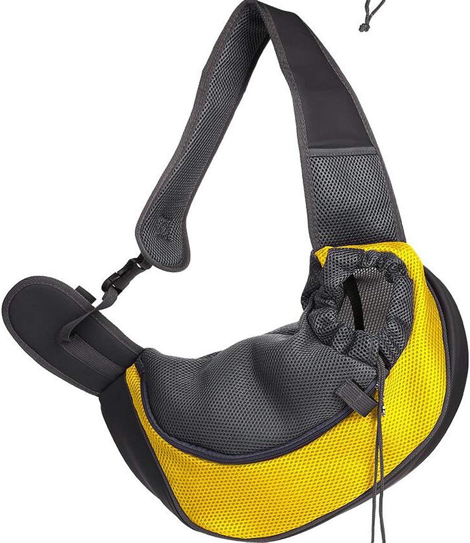 Pet Travel Carrier Pet Out Single Shoulder Diagonal Chest Dog Bag Breathable Out Carrying Bag Pet Bag,Yellow,L Ourtdoor Pet Bag (color   Yellow, Size   Large)
