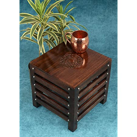 Vudy Wooden Handmade Stool | Table | for Home | Office | Living or Bedroom Décor |Outdoor | Brown - Mongo Wood