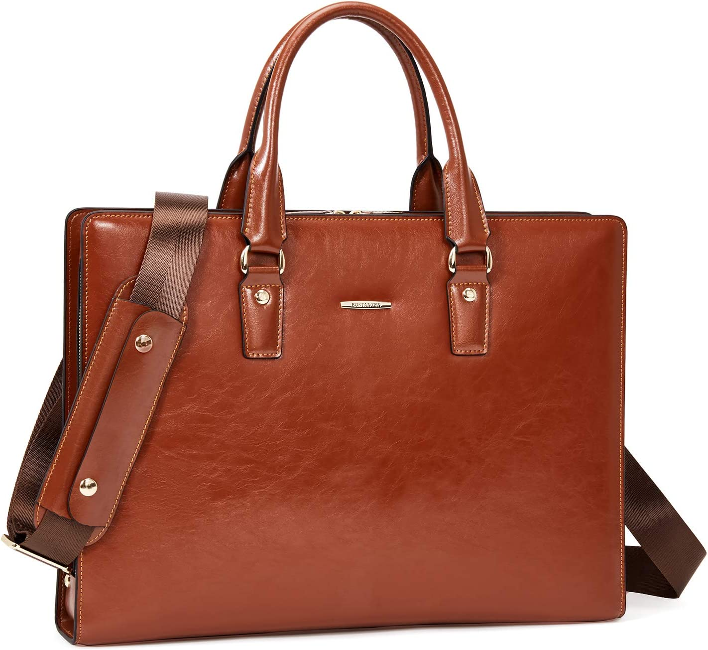 BOSTANTEN Genuine Leather Briefcase Vintage 15.6 inch Laptop Bag Business Shoulder Bag for Women & Men Brown