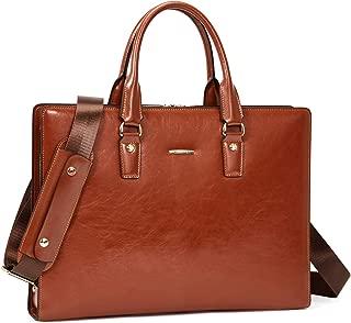 BOSTANTEN Genuine Leather Women Briefcase Vintage 15.6 inch Laptop Message Bag Business Shoulder Bag for Men
