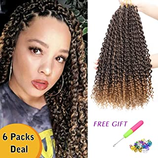 Passion Twist Hair 6 Packs 18 Inch Water Wave Ombre Bohemian Braids for Passion Twist Crochet Braiding Synthetic Crochet Hair Extensions Soft Lightweight Goddess Locs Braids